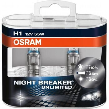 Автолампы Osram H1 12v- 55w Night Breaker Unlimited DuoBox