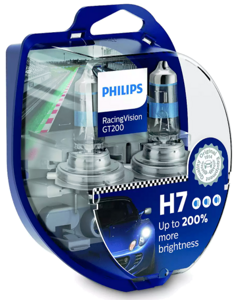 Автолампы Philips H7+200% Racing Vision GT200